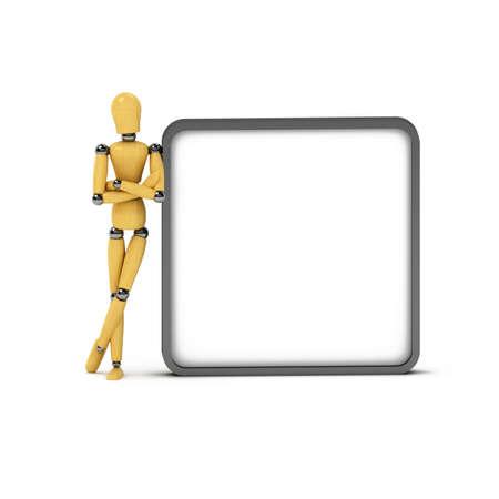 marioneta de madera: Madera maniqu� inclinado contra gran signo sobre blanco