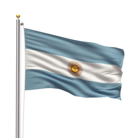 Flag of Argentina with flag pole waving in the wind over white background Stock Photo - 8000438