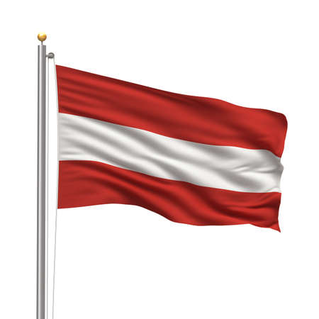 Flag of Austria with flag pole waving in the wind over white background Stock Photo - 8000437