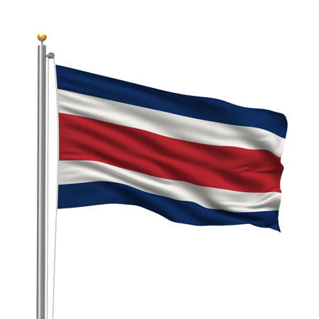 Flag of Costa Rica with flag pole waving in the wind over white background Stock Photo - 8000439