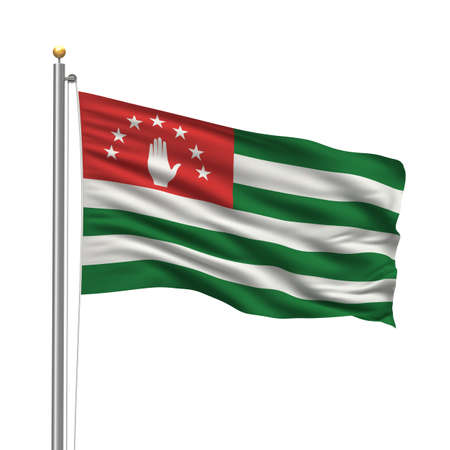 Flag of Abkhazia with flag pole waving in the wind over white background  Stock Photo - 8032327
