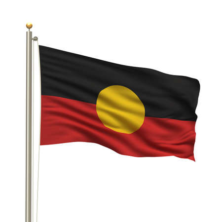 Aboriginal flag with flag pole waving in the wind over white background Stock Photo - 8032328