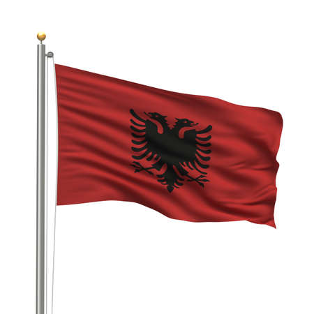 Flag of Albania with flag pole waving in the wind over white background Stock Photo - 8032330