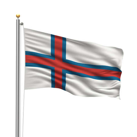 Flag of the Faroe Islands with flag pole waving in the wind over white background Stock Photo - 8118626