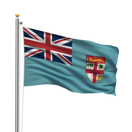 Flag of the Republic of the Fiji Islands with flag pole waving in the wind over white background Stock Photo - 8118630