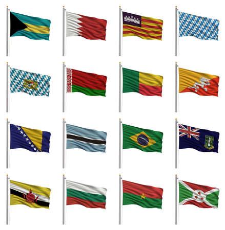 National flags with the letter B - Bahamas, Bahrain, Balearic Islands, Bavaria, Belarus, Benin, Bhutan, Bosnia, Botswana, Brazil, British Virgin Islands, Brunei, Bulgaria, Burkina Faso, Burundi photo