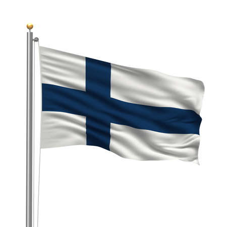 Flag of Finland with flag pole waving in the wind over white background photo