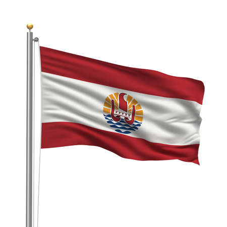 Flag of French Polynesia with flag pole waving in the wind over white background Stock Photo - 8118628