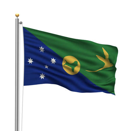 Flag of Christmas Island with flag pole waving in the wind over white background Stock Photo - 8118634
