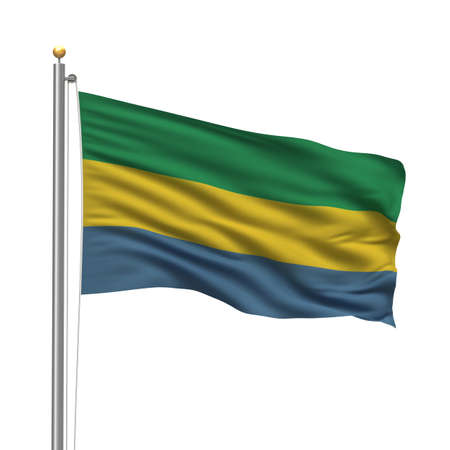Flag of Gabon with flag pole waving in the wind over white background Stock Photo - 8118636