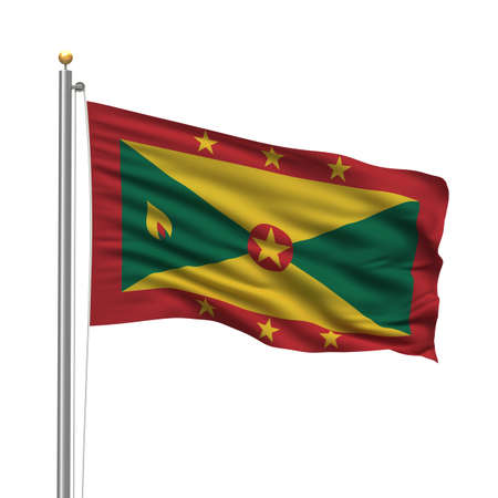 Flag of Grenada with flag pole waving in the wind over white background Stock Photo - 8118637