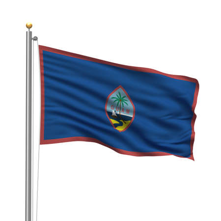 Flag of Guam with flag pole waving in the wind over white background Stock Photo - 8118638
