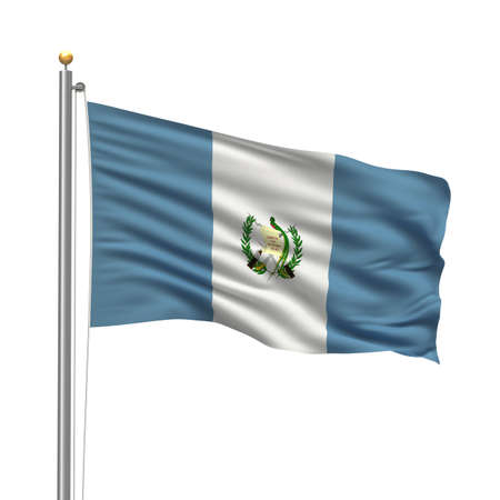 guatemalan: Flag of Guatemala with flag pole waving in the wind over white background Stock Photo