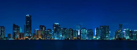 Miami skyline at night - panoramic image photo