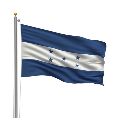 Flag of Honduras with flag pole waving in the wind over white background photo