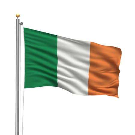 Flag of Ireland with flag pole waving in the wind over white background photo