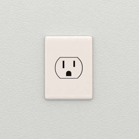 electric socket: Electrical outlet on white interior wall