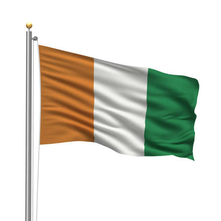 Flag of the Ivory Coast with flag pole waving in the wind over white background