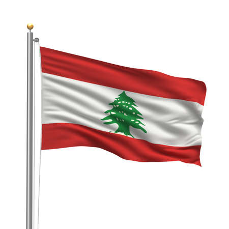 Flag of Lebanon with flag pole waving in the wind over white background photo