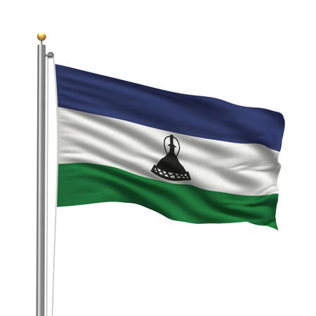 Flag of Lesotho with flag pole waving in the wind over white background photo
