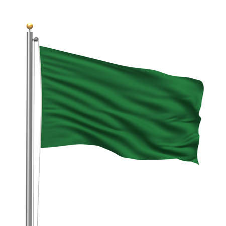 libyan: Flag of Libya with flag pole waving in the wind over white background