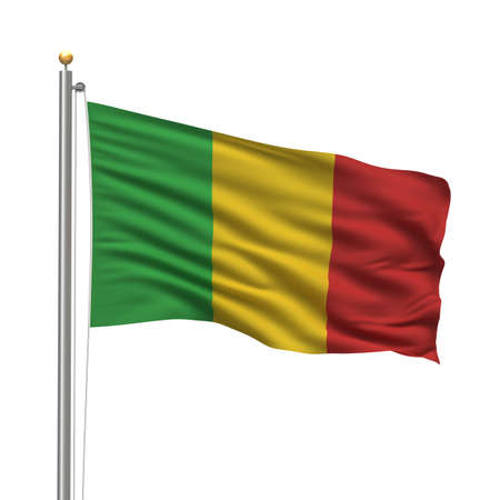 Flag of Mali with flag pole waving in the wind over white background photo