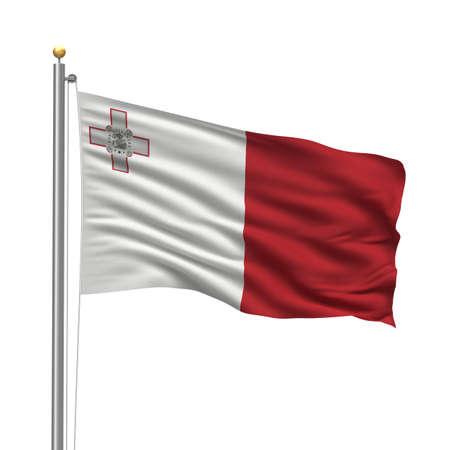 몰타의 국기 흰색 배경 위에 바람에 물결 치는 깃발 극