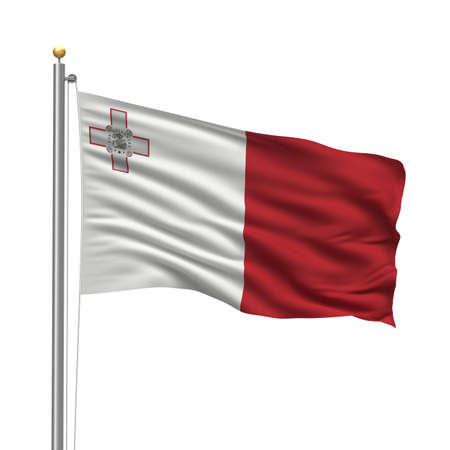 maltese: Flag of Malta with flag pole waving in the wind over white background