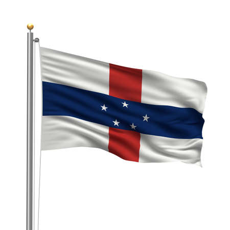 antilles: Flag of Netherlands Antilles with flag pole waving in the wind over white background Stock Photo