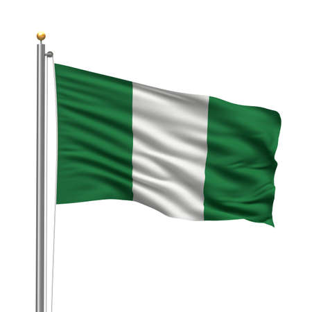 nigeria: Flag of Nigeria with flag pole waving in the wind over white background Stock Photo