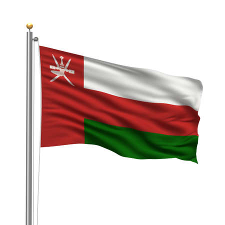 oman background: Flag of Oman with flag pole waving in the wind over white background Stock Photo
