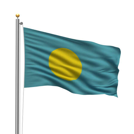 Flag of Palau with flag pole waving in the wind over white background photo