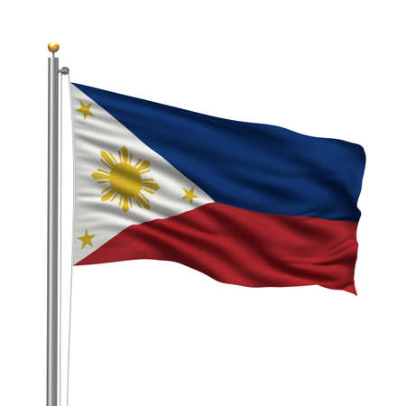 filipino: Flag of Philippines with flag pole waving in the wind over white background