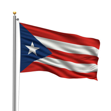 puerto rico: Flag of Puerto Rico with flag pole waving in the wind over white background Stock Photo