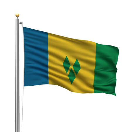 grenadines: Flag of Saint Vincent and the Grenadines with flag pole waving in the wind over white background