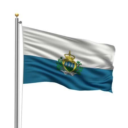 marino: Flag of San Marino with flag pole waving in the wind over white background
