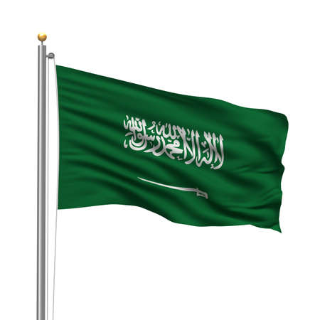 arabia: Flag of Saudi Arabia with flag pole waving in the wind over white background