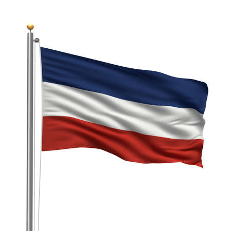 Flag of Serbia and Montenegro with flag pole waving in the wind over white background photo