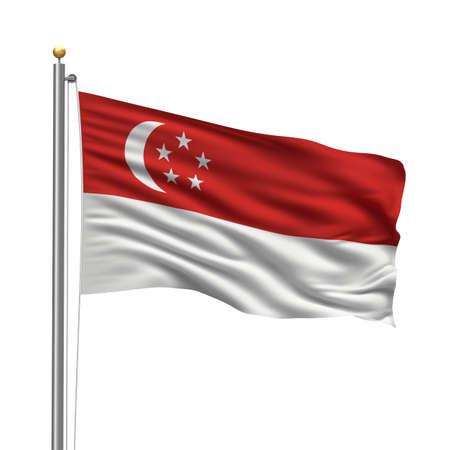 singaporean flag: Flag of Singapore with flag pole waving in the wind over white background