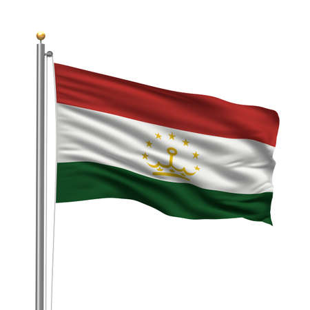 Flag of Tajikistan with flag pole waving in the wind over white background photo