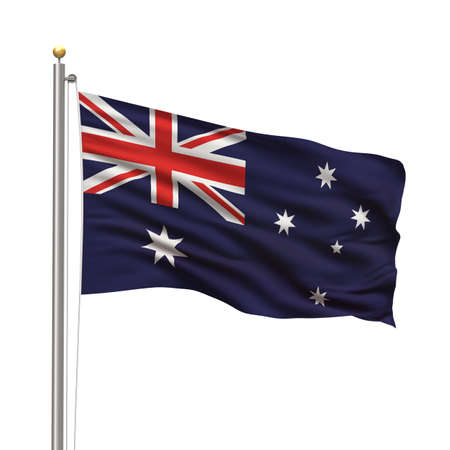 australian: Flag of Australia with flag pole waving in the wind over white background