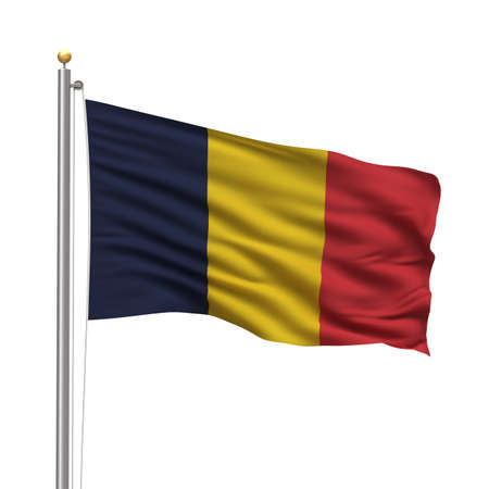 chadian: Flag of Chad with flag pole waving in the wind over white background