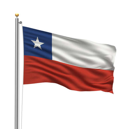 Flag of Chile with flag pole waving in the wind over white background photo