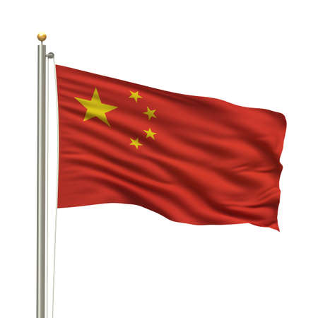 chinese flag: Flag of China with flag pole waving in the wind over white background Stock Photo