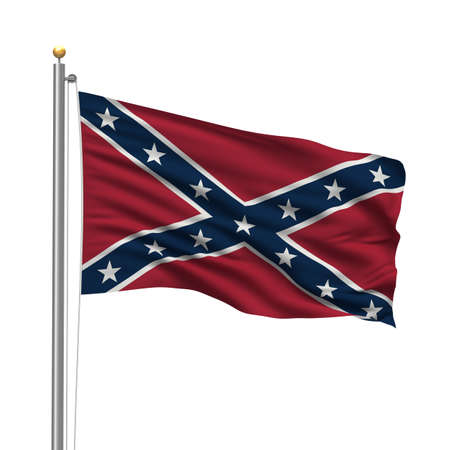 civil war: Confederate Flag with flag pole waving in the wind over white background