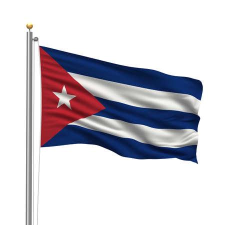 bandera cuba: Bandera de Cuba con Polo bandera ondeando en el viento sobre fondo blanco Foto de archivo