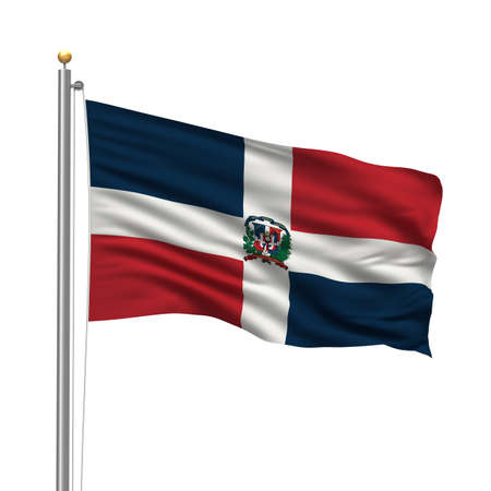 dominican republic: Flag of Dominican Republic with flag pole waving in the wind over white background