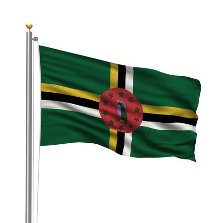 Flag of Dominica with flag pole waving in the wind over white background photo