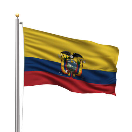 Flag of Ecuador with flag pole waving in the wind over white background photo