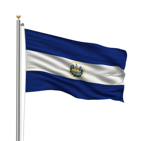 Flag of El Salvador with flag pole waving in the wind over white background photo